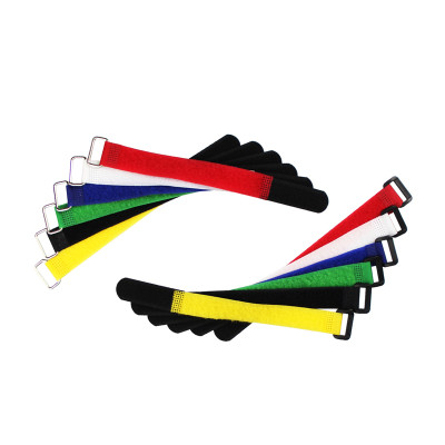 Custom Nylon Adjustable Plastic Colored Hook and Loop Cable Ties with Buckle