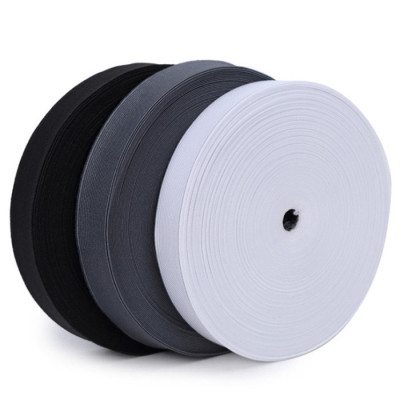 Factory Home Textile Reusable Black White Nylon Elastic Knit Webbing Fastener Tape