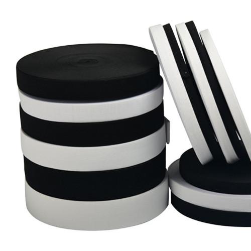 Factory Home Textile Reusable Black White Nylon Elastic Knit Webbing Fastener Tape
