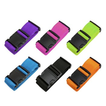 Multicolor Durable Adjustable Travel Luggage Belt Strap with Plastic Buckle or Code Lock