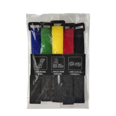 100% Nylon Adjustable fastener tape hook and loop cable tie split with Plastic Buckle