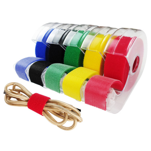 Hand Tear Style Nylon Back To Back Hook And Loop Perforated Tape Roll In Dispenser