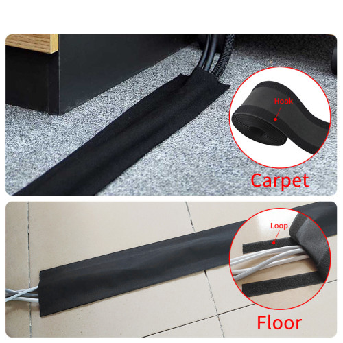 Reusable Adjustable Soft carpet wrap Hook and Loop Cable Cover Management Sleeve