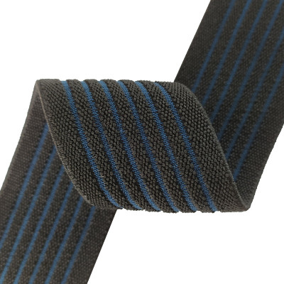 Factory Supply Black And Blue Stripe 40mm Nylon Custom High Elastic Webbing Band