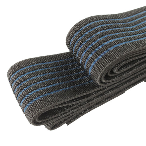Factory Supply Black And Blue Stripe 40mm Nylon Custom High Elastic Webbing Band