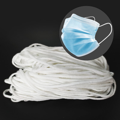 Customized High Quality 3mm Cheap Round White Face Mask Earloop Rope Protective Product Elastic Cord