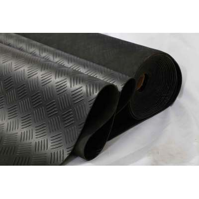 black Anti skid checker pattern rubber flooring sheet