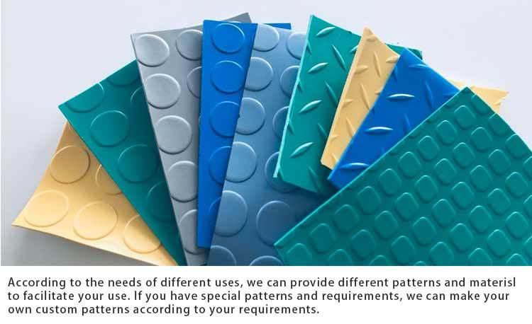 Tapis de plancher de feuille de PVC de damier antidérapant de motif de bande de diamant jaune noir vert