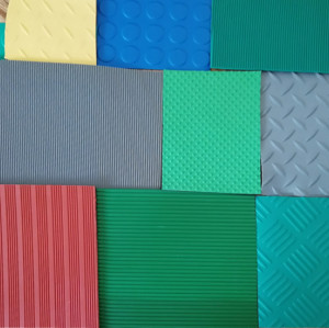 Green Black yellow Diamond Tread Pattern Anti-slip checker pvc sheet flooring mat