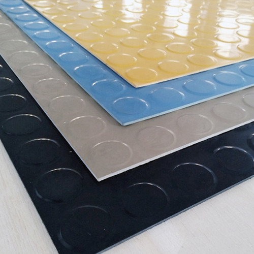 Green Black yellow Round buckle Antiskid plastic rubber sheet pvc coin mat