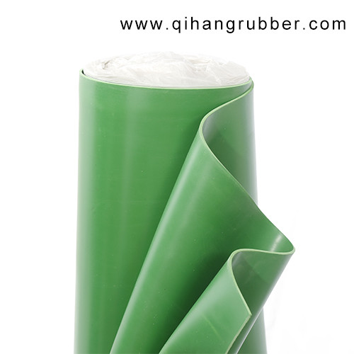 Anti-aging thin colored green smooth surface rubber sheet
