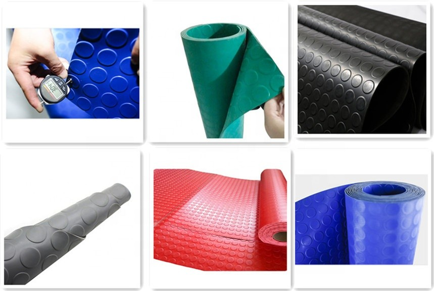 Non skid colored thin round stud rubber floor mats
