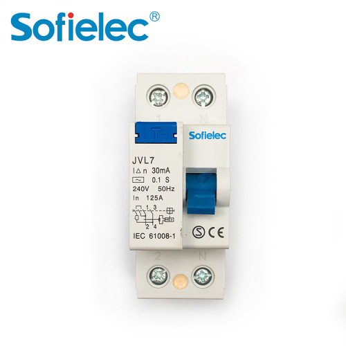 6kA JVL7 240V Sofielec Magnetic 100A 125A RCCB 2P 4P, SEMKO,CB,CE approval, A,AC type Residual Current Circuit Breaker