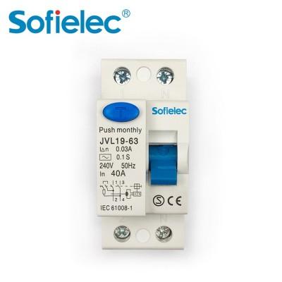 4.5kA JVL19-63 Sofielec Economic RCCB pin/fork busbar connection A,AC type Residual Current Circuit Breaker