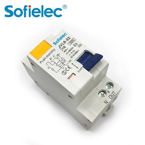 6kA JVL6-32 AC 240V 1p+n rcbo/rcd electronic 4 pole miniature circuit breaker with CE certificate