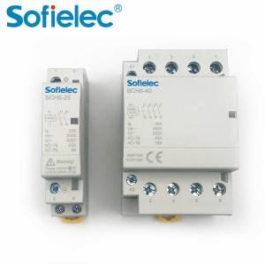 Sofielec 2 pole 4 pole 25a 2NO type 12V 24V coil AC DC series Magnetic contactor Modular