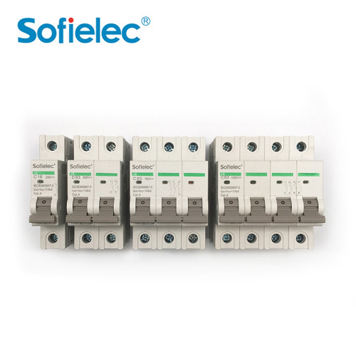 10KA DC series MCB non-polarized, 1P,2P,3P,4P up to 63Amp, SAA,TUV,CB approved. PV SOLAR busbar,
