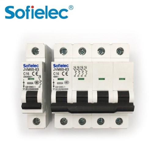Sofielec mass production MCB JVM65-63, reliable quality factory MCB 63A, SEMKO,CB,CE approval