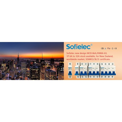 Sofielec new design MCB 6kA,JVM66-63,1P 6A to 32A stock available, for New Zealand, worldwide market, SEMKO,CB,CE certificate.