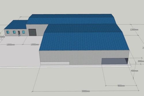 Europe Moldova Prefabricated Steel Structure Workshop With Office And Warehouse Zone