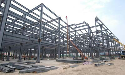 Multi-Storey Prefabricated Steel Structure Fireproof  Building For Commercial Workshop Hall