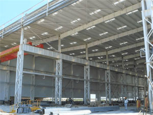 Philippines Prefabricated Steel  Structure Workshop Construction With Cranes