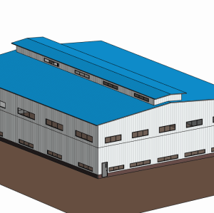 Double floor prefabricated Steel Structure warehouse with  overhead crane