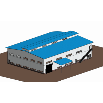 Nigeria Double Storey Steel Structure Workshop with Warehouse And Office design