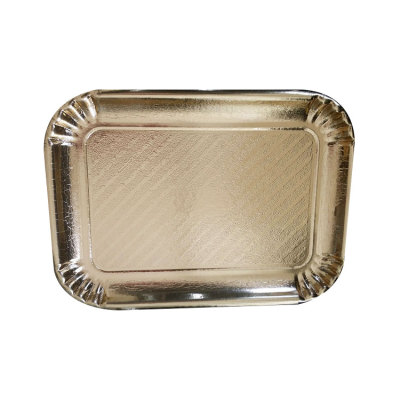 Food Grade Biodegradable Disposable Paper Plate with Silver Foil Round Rectangles