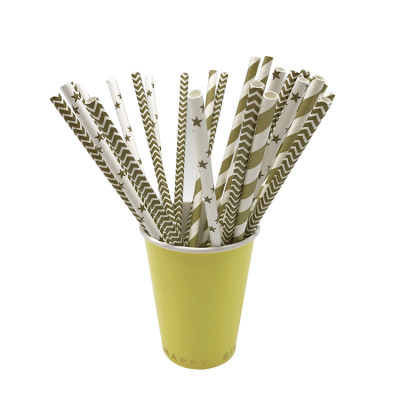 25PCS/Pack Colorful Dot Star Mix Pattern food grade biodegradable beverages drinking Paper Straw
