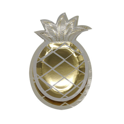 Disposable gold pineapple holiday party paper plates for decoration