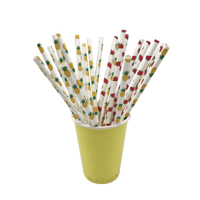 Fruit Pattern Decorative Summer Party Drinking Paper Straws