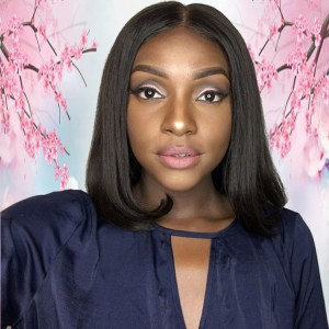 Middle Part Virgin Aligned Cuticle Brazilian Human Hair Bob 13X6 Lace Front Frontal Wig For Summer