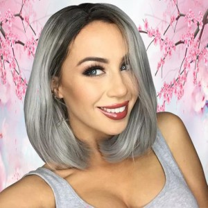 12inch Middle Part 1b Silver Grey Peruvian Human Hair Short Bob Wigs With Full Ending