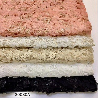 2019 high quality fashion new design flower sequin wedding dress fabric sequin fabric