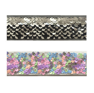 wholesale hot sale embroidery reversible sequin mesh trim sequin tape