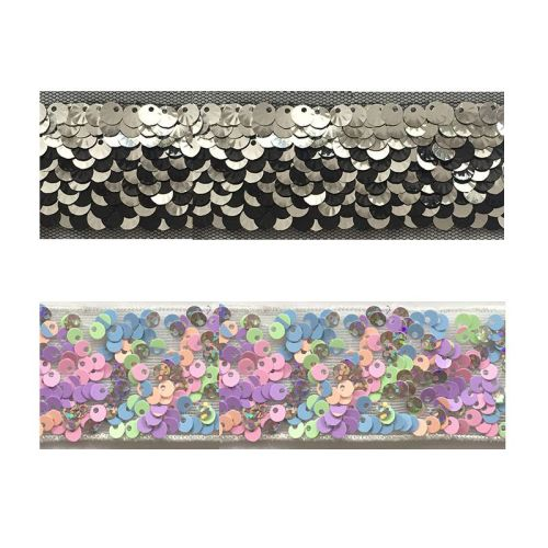 2019 new arrival flower design embroidery reversible sequin trim sequin motif tape for clothes