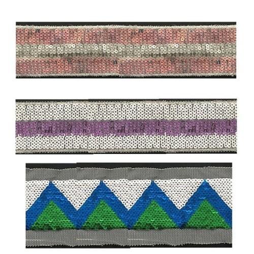 2019 new arrival sequin design embroidery reversible sequin trim sequin motif tape for dress