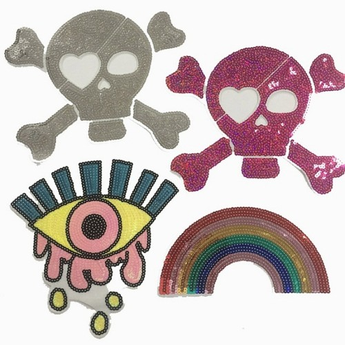 2020 custom embroidery iron on sewing on patches sequined