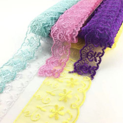 latest design multi colors organza lace trim embroidery dubai lace