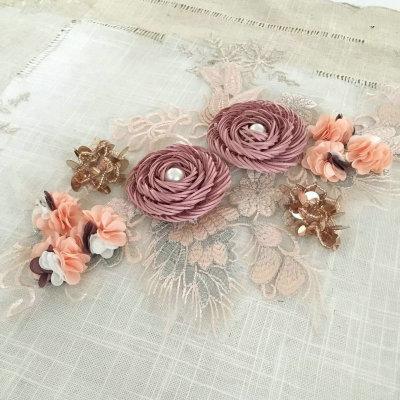 latest design rhinestone beaded applique embroidery flower design