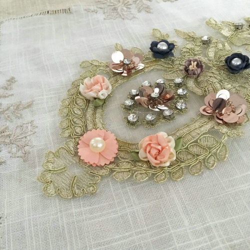 latest design rhinestone beaded applique embroidery flower design