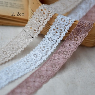 2019 wholesale Spandex / Nylon/cotton Material lace trim elastic stretch lace