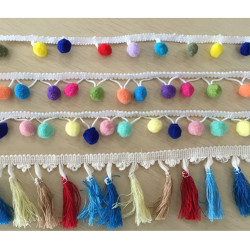 colorful decorative 1.5mm POM ball LACE