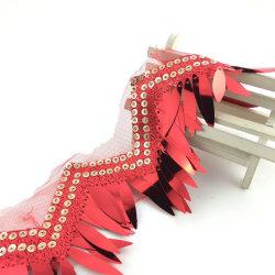 2020 latest design 3D tassel tulle multi color sequin fringe fancy lace trim