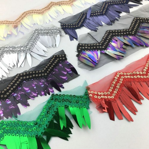 2020 latest design 3D tassel tulle multi color sequin fringe fancy lace trim