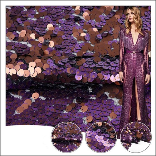 2020 The latest fashion for evening dress reversible sequin lace fabric