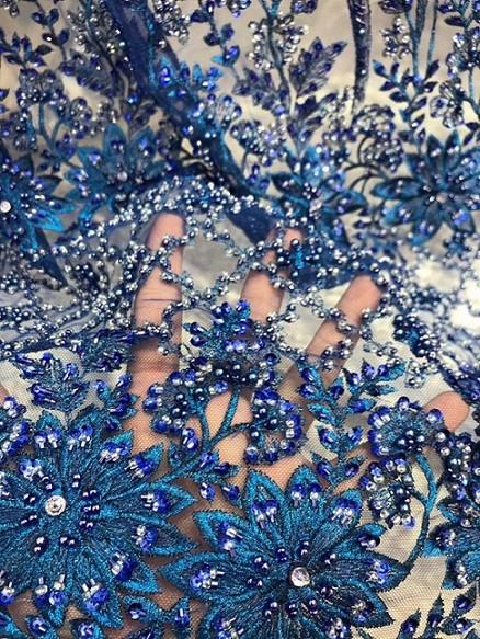 2020 latest luxury handmade heavy rhinestone bead pearl guipure 3d lace fabric