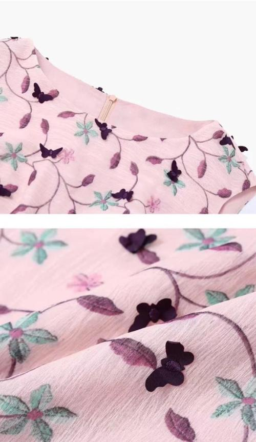Chiffon multi-color polyester yarn laser butterfly bronzing 3d embroidery lace fabric