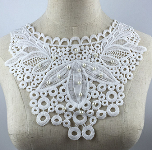 2019 new arrival pearl beaded embroidery lace collar ladies